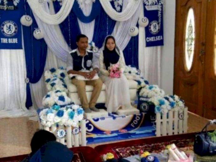 Viral Pengantin Gelar Pernikahan Bertema Chelsea, Netizen: Penghulunya Drogba