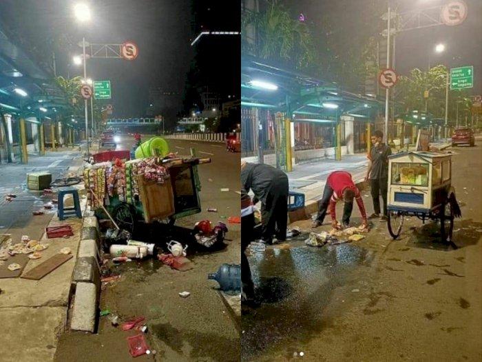 Sedih! Pedagang Kaki Lima ini Jadi Korban Tabrak Lari, Dagangannya Berhamburan di Jalan
