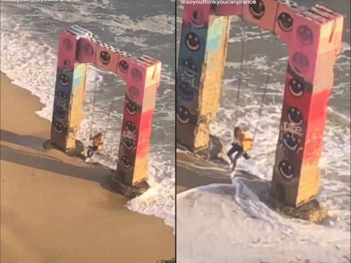 Detik-detik Cewek Hampir Terhantam Ombak Besar, Saat Main Ayunan di Tepi Pantai