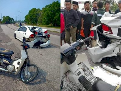 Honda Civic FD Remuk usai Ditabrak Astrea Prima, Netizen Nggak Nyangka