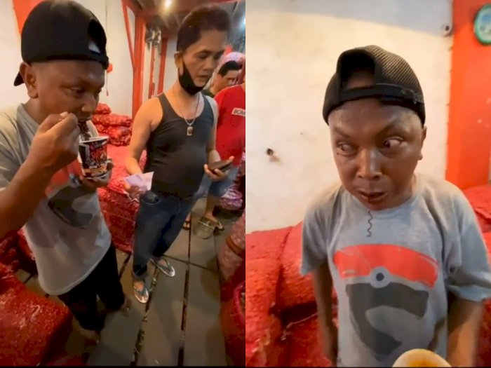 Pria ini Ditantang Makan Mie Instan Super Pedas, Keringetan dan Melotot Gegara Kepedasan