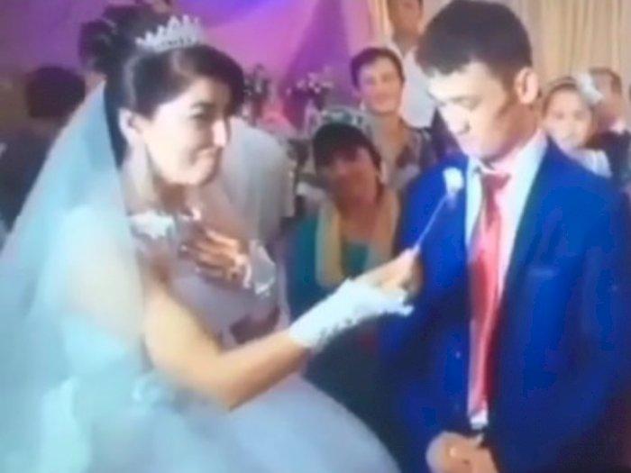 Video Mempelai Pria Ngamuk saat Pernikahan, Mau Disuapi Kue Tapi Dilece-lece