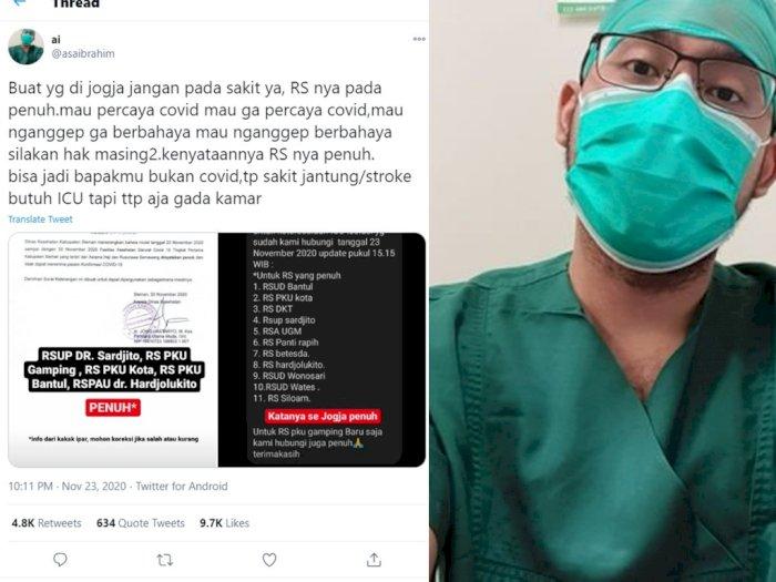 Rumah Sakit di Jogja Dikabarkan Penuh, Dokter Ini Ingatkan Jangan Sakit