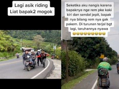 Tangis Anak Vespa Pecah Lihat Pemotor Bertaruh Nyawa Pakai Rem Kaki yang Diseret ke Jalan