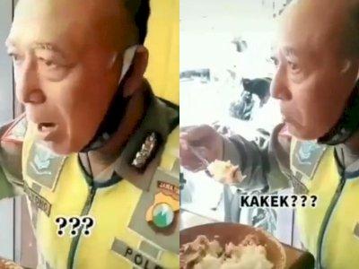 Viral Polisi Tua Makan di Warteg Mirip Bondan Winarno, Netizen: Mirip Kakek Sugiono
