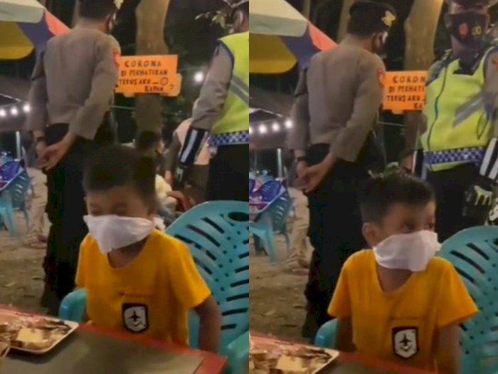Panik saat Ada Razia Masker di Tempat Makan, Bocah Ini Sulap Tisu Jadi Masker