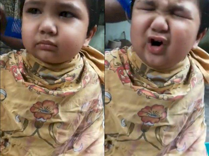 Video Saat Bocah yang Ngamuk Gegara Rambutnya Dipangkas, Bikin Gemas