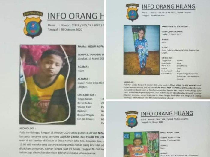 Tiga Bocah Hilang di Langkat, Polisi Menduga Mereka jadi Korban Penculikan