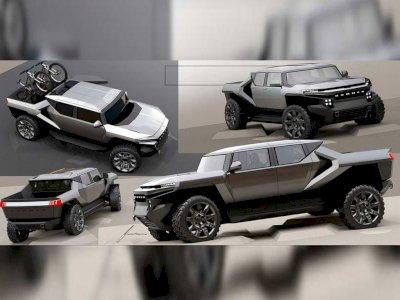 Seperti Ini Konsep Awal Mobil GMC Hummer EV yang Hadir dengan Desain Futuristik!