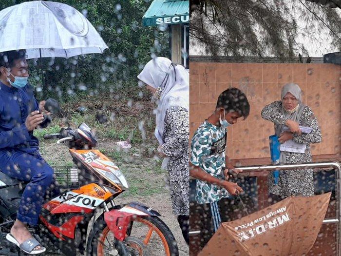 Perjuangan Haru Guru Kala Belajar Online, Datangi Rumah 38 Siswa Meski Hujan-hujanan