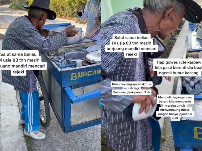 Dorong Gerobak dengan Kondisi Bungkuk, Kakek 83 Tahun Penjual Bubur Ini Bikin Terharu!