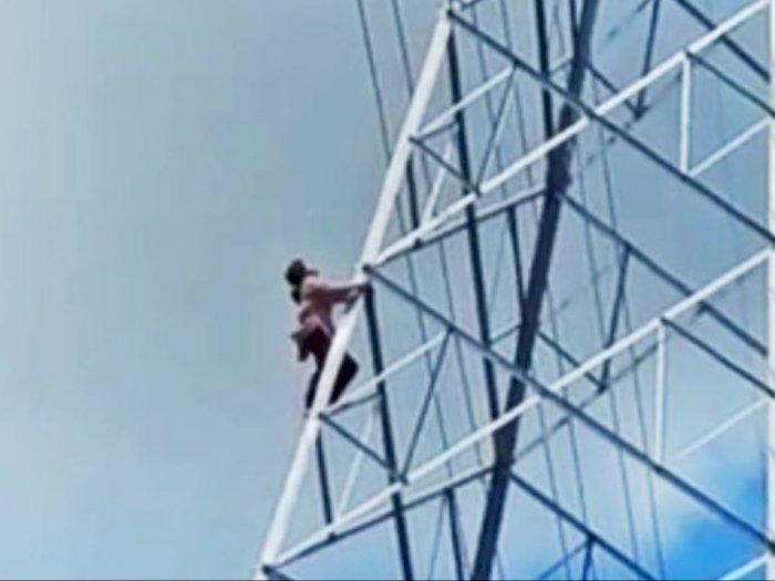 Viral Seorang Wanita Diduga Depresi Panjat Tiang Tower BTS Jelang Magrib di Medan