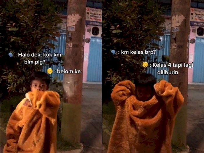Sedih! Bocah ini Rela Cari Uang Bantu Orang Tua dengan Kostum Badut Hingga Malam Hari