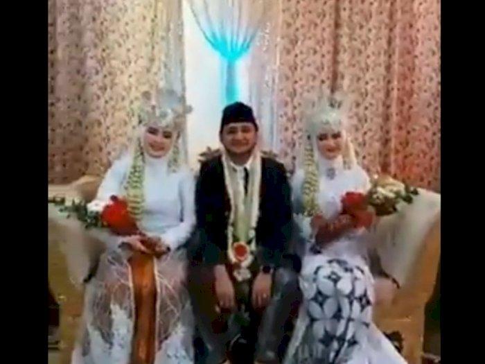 Viral Video Pengantin Didampingi Dua Istri di Atas Pelaminan, Netizen Sebut Lelaki Hebat