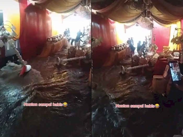 Video Pelaminan Pengantin Baru Terendam Air Banjir, Netizen: Doa Mantan Terkabul