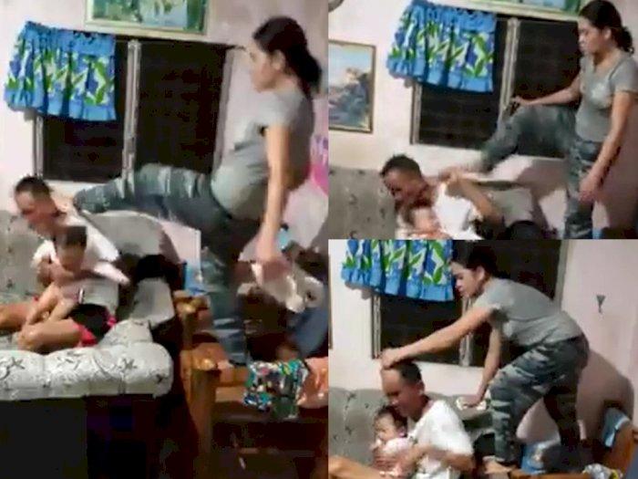 Biadab! Istri Durhaka Injak-injak Kepala Suami saat Gendong Anak, Ternyata Begini Kisahnya