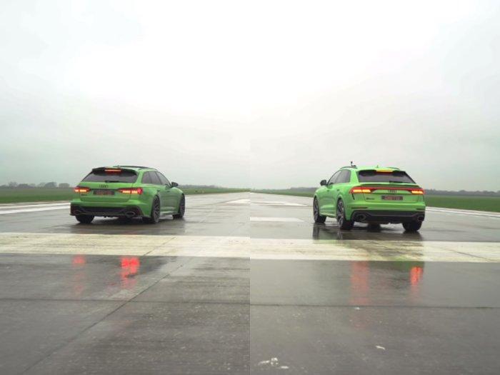 Melihat Pertarungan Drag Race Saudara Antara Mobil Audi RS6 dan RS Q8!