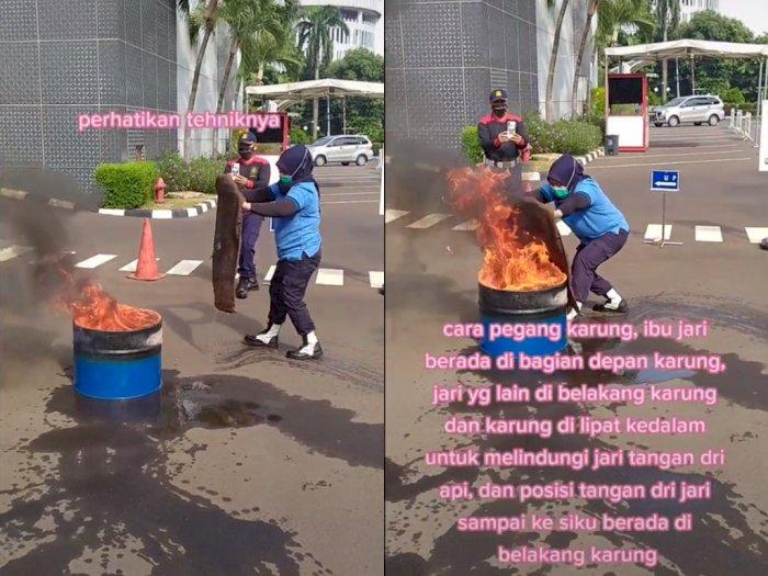 Gak Perlu Panik, Wanita ini Bagikan Tips Cara Padamkan Api Pakai Karung Goni dengan Mudah