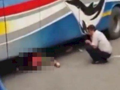 Seorang Ayah Tewas Terlindas Bus Yang Ditumpangi Anaknya
