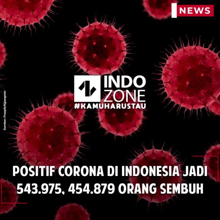 Positif Corona di Indonesia Jadi 543.975, 454.879 Orang Sembuh
