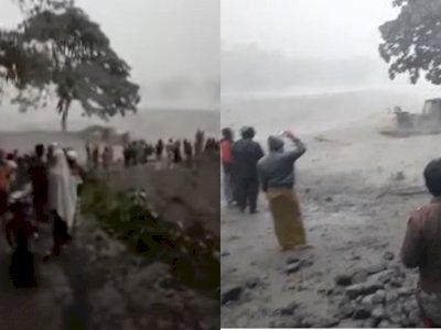 Gunung Semeru Meletus, Warga Berkumpul untuk Melihat Aliran Lahar Panas dan Sibuk Merekam