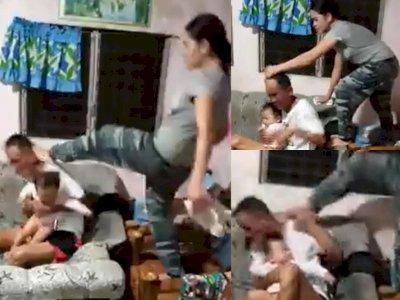 Durhaka! Kepalanya Diinjak-injak Istri, Reaksi Suami Tak Disangka, Netizen pun Geram