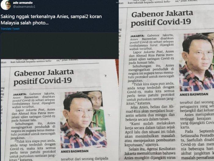 Ade Armando Unggah Koran Malaysia Beritakan Gubernur DKI Kena Covid, tapi Pakai Foto Ahok