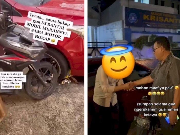 Viral Mobil Parkir Sembarangan di Depan Rumah, Ban Dirantai ke Motor, Begini Endingnya