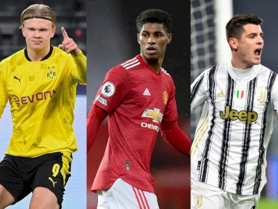 Daftar Pencetak Gol Terbanyak Liga Champions 2020/21: Haaland, Rashford & Morata Memimpin