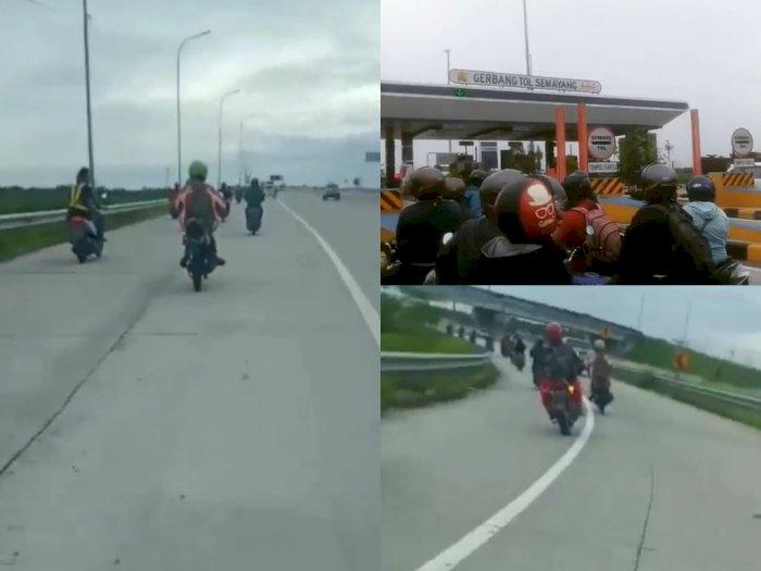 Jalan Lumpuh Akibat Banjir, Puluhan Pemotor yang Hendak Kerja Terobos Tol Binjai-Medan