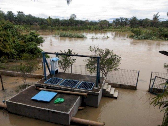 Curah Hujan Tinggi, Sungai Wampu Langkat Meluap, Air Sudah Masuk Wilayah Perkantoran