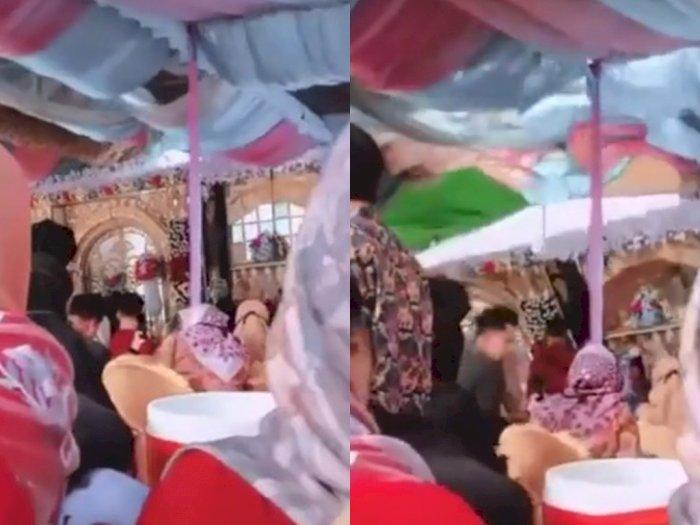 Viral Video Pelaminan Pernikahan Roboh Diterjang Angin Kencang, Warganet: Doa Mantan