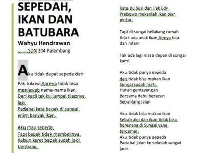 Bait Puisi Siswa SD 'Sepedah, Ikan, dan Batubara' Ini Sindir Kepemimpinan Presiden Jokowi