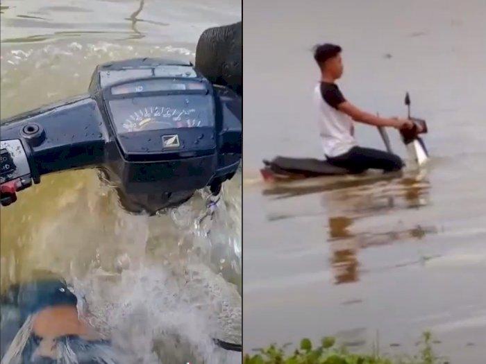 Motor Jadul Pria ini Tetap Bisa Hidup Saat Berada Dalam Air, Bikin Netizen Takjub