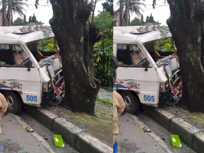 Sebuah Mobil Tabrak Pohon di Tanjung Morawa, Sopir Kabur, 2 Penumpang Luka-luka