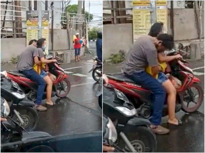 Viral Pasangan Naik Motor Pelukan di Lampu Merah, si Pria 'Nyosor' dari Belakang