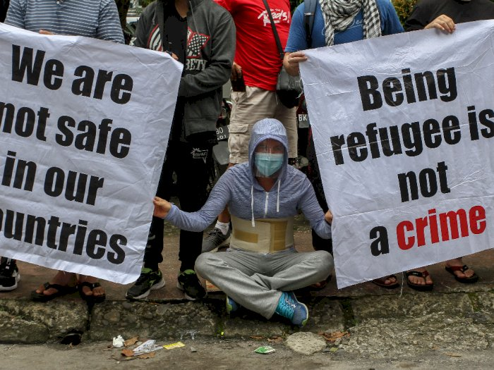 FOTO: Unjuk Rasa Imigran di Medan