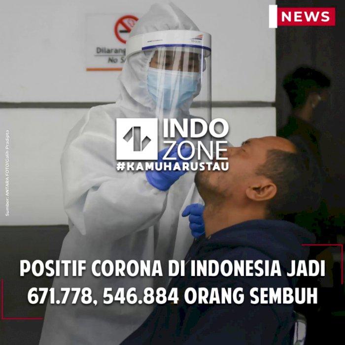 Positif Corona di Indonesia Jadi 671.778, 546.884 Orang Sembuh