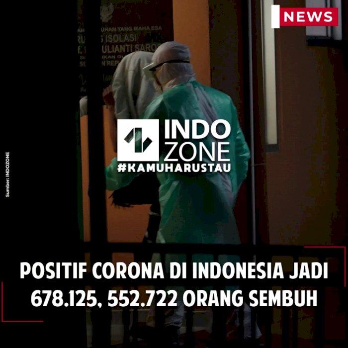 Positif Corona di Indonesia Jadi 678.125, 552.722 Orang Sembuh