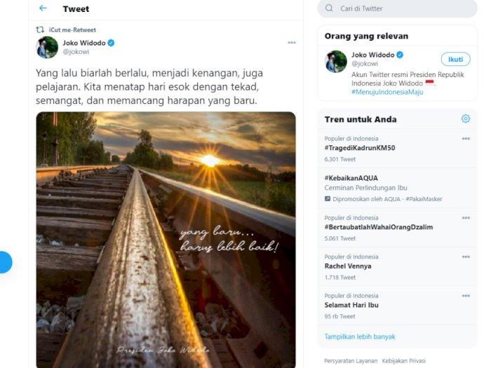Kicau Presiden di Twitter: Yang Lalu Biarlah Berlalu, Menjadi Kenangan juga Pelajaran