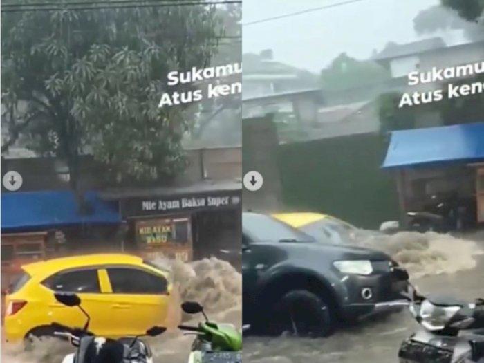 Detik-Detik Mobil Hanyut Terbawa Arus Deras, Akibat Banjir di Bandung