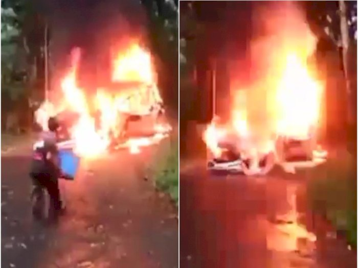 Video Mobil XTrail Terbakar saat Pengemudinya Mau Lihat Ternak Kambing, Yang Nolong Cuma 1