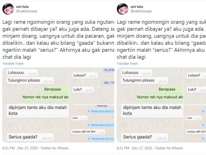 Viral Curhat Netizen yang Kerap Diutangi Namun Tak Pernah Dibayar, Duh!