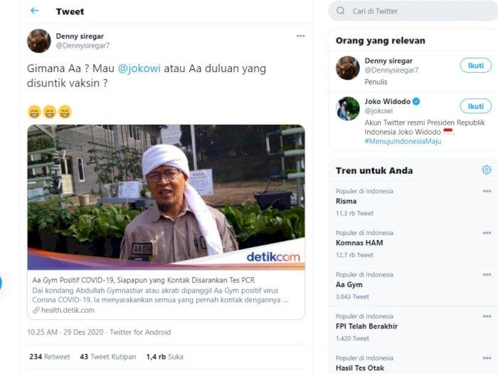 Covid-19 Aa Gym, Denny Siregar: Gimana Aa? Mau Jokowi atau Aa Duluan yang Disuntik Vaksin?