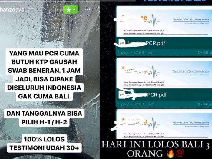 Heboh Surat Hasil Tes PCR Palsu Dijual Rp650 Ribu Dijamin Lolos, Demi Bisa Liburan ke Bali