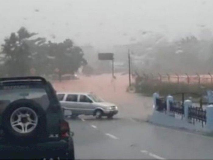 Hujan tak Berhenti, Sejumlah Titik di Tanjungpinang Dilanda Banjir Hingga ke Arah Bandara