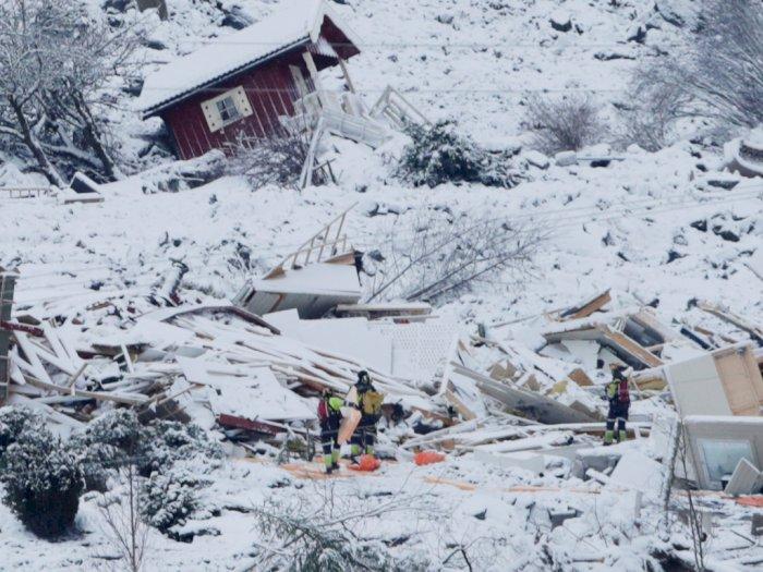 FOTO: Satu Orang Tewas dan Sembilan Lainnya Hilang Pada Longsor di Norwegia