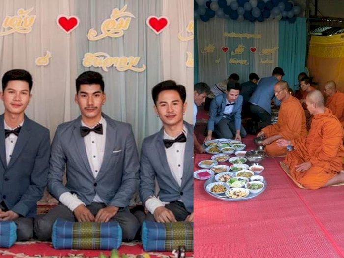 Fakta 3 Pria Nikah Sesama Jenis Bertiga di Thailand, Biksu Buddha Ikut Merestui