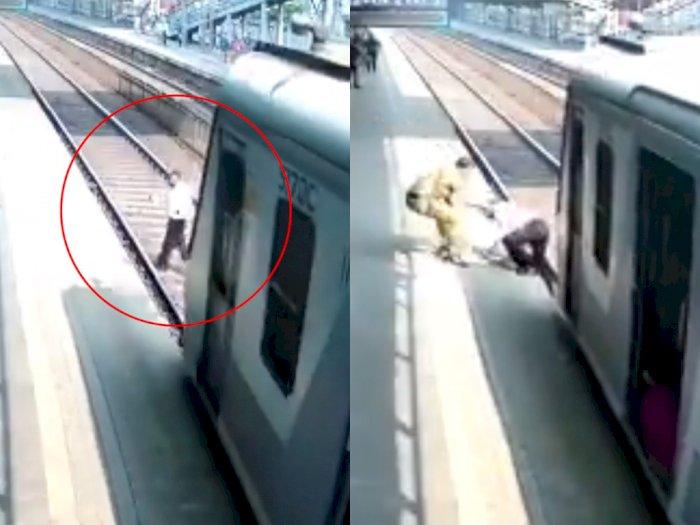 Detik-detik Video Polisi Berhasil Selamatkan Lelaki Tua yang   Hampir Tertabrak Kereta Api