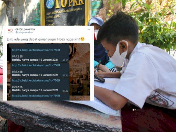 Viral Pemberian Subsidi Kuota Belajar 75 GB di Sosmed, Itu Hoaks